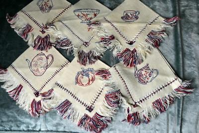 vintage to antique 6 Chinese embroidered fringed linen cocktail dinner napkins