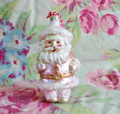 Cody Foster Pink Glass Granny's Santa Retro Vintage Style Christmas Ornament New