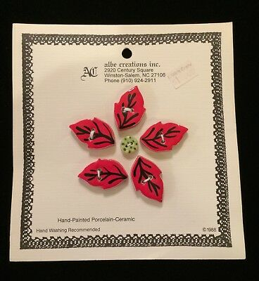 Albe Creations Ceramic Buttons Set/Christmas Poinsettias/Set of Two