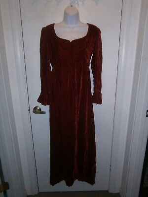 Halloween Costume Vintage 70's Lorrie Deb Red Velvet White Lace Empire Dress