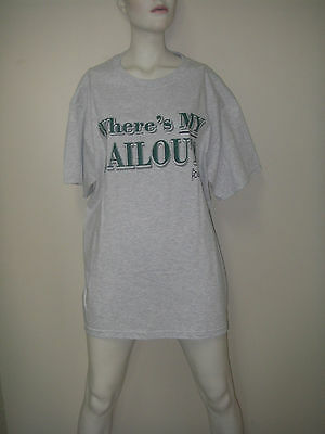 Political T-SHIRT Where's My Bailout Grey/Green Sz L Fruit of  Loom Howie Carr