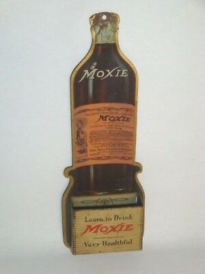 Nice Old Tin Litho Die Cut Moxie Soda Advertising Match Holder Display Sign
