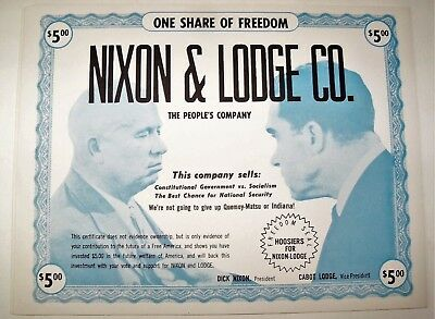 """7 Vintage 1960 Nixon Lodge $5 Campaign """"Stock"""" Certificate One Share of Freedom"""