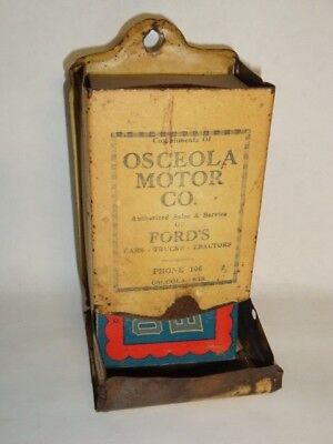 Nice Old Tin Osceola Motor Co Ford Dealer Advertising Match Holder Display
