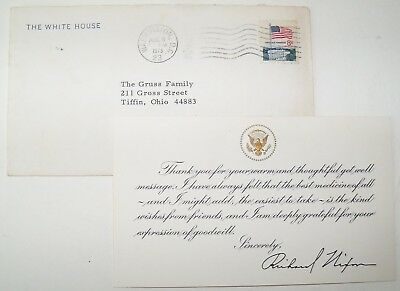 Vintage 1973 Richard Nixon White House Get Well Thank You Pre-print Card Letter