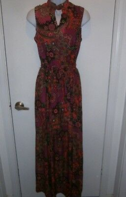 Halloween Costume Vintage 70's Dress Psychedelic Paisley Size 14 TLC