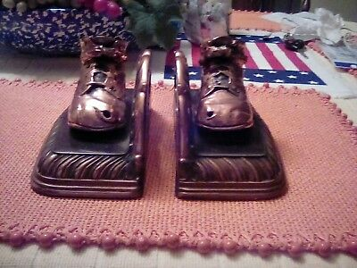 Pair of Vintage Antique Heavy Copper Bronze Bronzed Baby Shoes Bookends