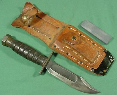Vietnam War US Jet Pilot Knife Camillus 1967 with Sheath and Stone