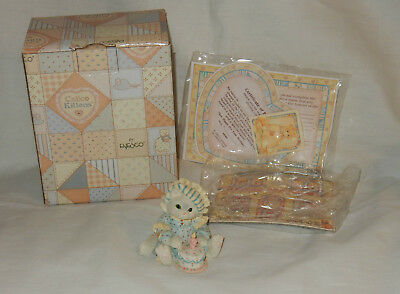 Enesco Calico Kittens 1993 Sew Happy It's Your Birthday Figurine in Box w Papers
