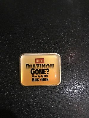 Home Depot Ortho Bug b Gone Dead Rare Apron Pin Orange Tools Retail Collectible