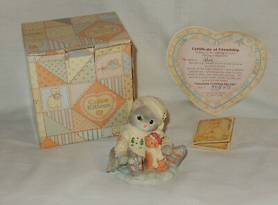 Enesco Calico Kittens 1994 Friendship Cushions The Fall Figurine in Box Papers