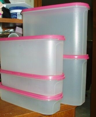 Tupperware Modular Mates Set Of 5 With Bright Pink Lids