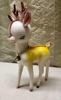 "VTG 8"" tall PLASTIC XMAS REINDEER FIGURE WITH BELL Marked Made in HONG KONG"