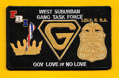L1 Gman Chicago Lisle Il West Suburban Gang Task Force Fed Police Patc