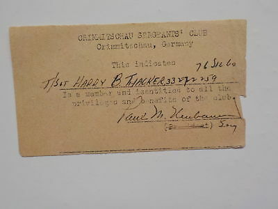 WWII Document Crimmitschau Sergeants' Club Germany WW2