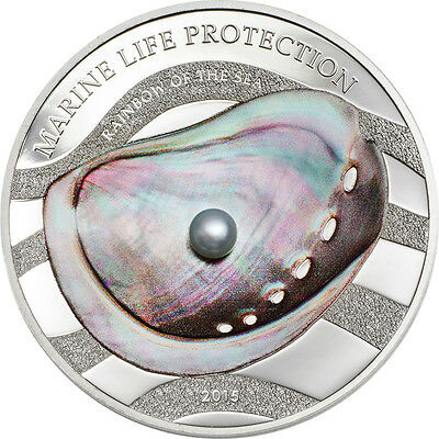 2015 RAINBOW OF THE SEA - PEARL Marine Life Silver Proof Coin Palau $5