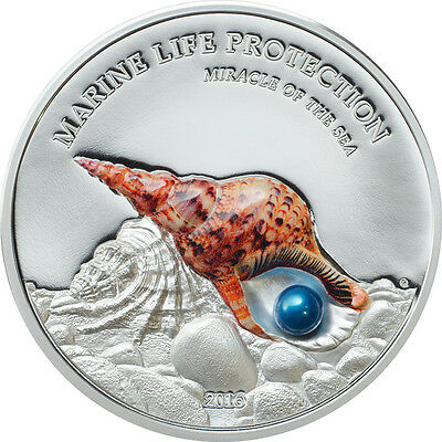 2016 MIRACLE OF THE SEA - PEARL Marine Life Silver Proof Coin Palau $5