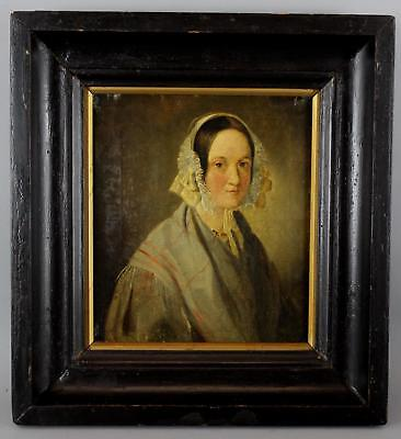 Small Antique 19thC American Folk Art Portrait Oil Painting of Woman
