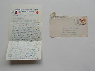 "WWII Letter 1945 Gotha Germany 102nd Infantry Division ""Onaway"" WW2"