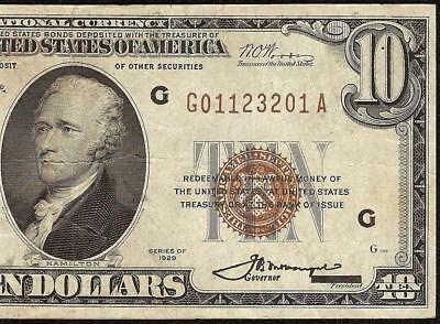 1929 $10 Dollar Bill Chicago Brown Seal Fr Bank Note Old Paper Money Currency