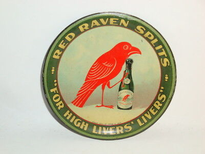 Nice Old Tin Litho Red Raven Brand Splits Advertising Tip Tray 2 of 2