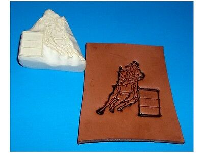 "RODEO BARREL RACER MEDIUM Leather Emboss Plate 2"" x 2"""