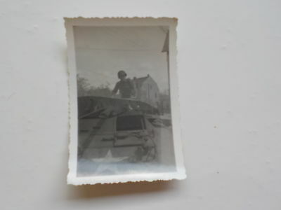 WWII Photo Soldier On Top Military Vehicle 76th Infantry Division Photograph WW2