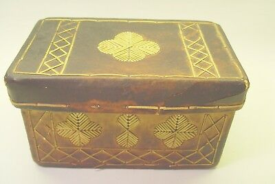 Antique Heavyweight Leather Letter Or Sewing Box.