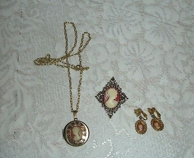 Lot of Vintage CAMEO Jewelry ~Earrings~Necklace~Locket~ Lisner, Gerry's