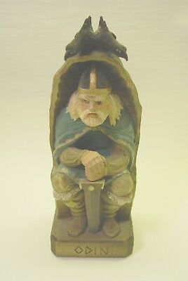 "Odin Hand Carved Wood Figure By Henning Of Norway.  9"" Tall.  Excellent."