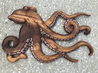 Octopus 🐙 Wood Wall Plaque Patio Home Decor Natural Color Design