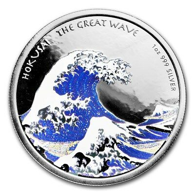 2017 HOKUSAI - THE GREAT WAVE Proof Colorized Fiji $1 1 oz Silver Coin .999 Fine