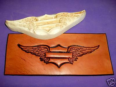 "Winged Emblem Leather Emboss Plate 6 1/4""x1 5/8"" Biker"
