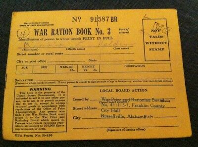 War Ration Book #3 Partially Used Stamps Issued in Alabama