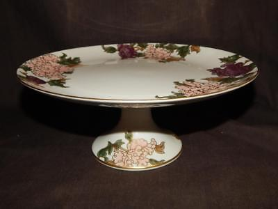 "Fitz & Floyd ""cloisonne Peony White"" Round Pedestal Cake Plate Or Compote"