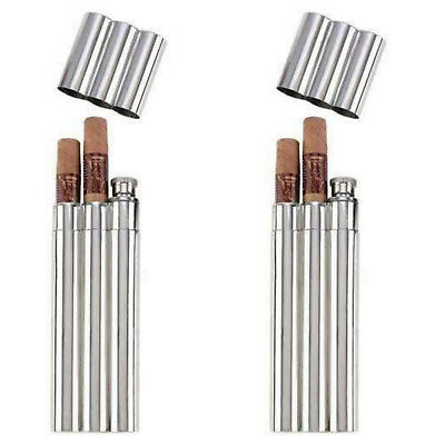 Lot of 2-  2oz Stainless Steel Flask with 2 Cigar Tubes NEW