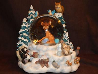 Disney Bambi Musical Snow Globe With Two Spinners Moving Figures