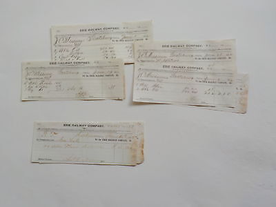 12 Antique Documents 1800s Erie Railway Company Lot Railroad VTG Papers USA NR