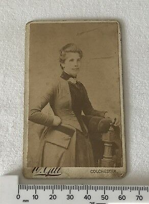 Small Antique Victorian / Edwardian Cabinet Photo by W Gill Colchester - Woman