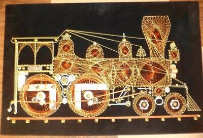 BEAUTIFUL COOL Vintage-Large-Copper-Wire-String-Art-Train-Locomotive SYMMOGRAPHY