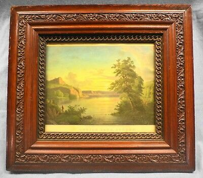 Beautiful Antique Dark Brown Oak Picture Frame Victorian Style Currier & Ives