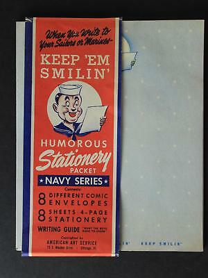 WW II 1940s KEEP EM SMILIN HUMOUROUS NAVY SERIES STATIONERY PACKET~UNUSED~