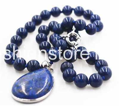 New 8mm Natural Egyptian Lapis Lazuli Gemstone 28x36mm pendant Necklace 18'' AAA