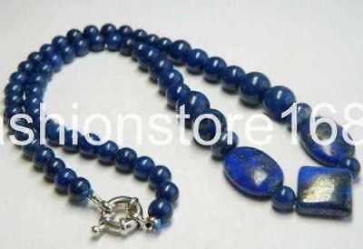 Real Natural Blue Egyptian Lapis Lazuli Beads Necklace 18""