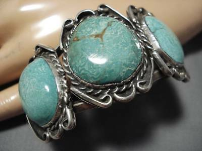 Museum Quality! Vintage Navajo Green Turquoise Sterling Silver Bracelet Old Cuff
