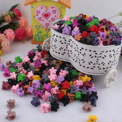 30PCS Kids Baby Girls Candy Color Hairpins Mini Claw Hair Clips Clamp Flower Set