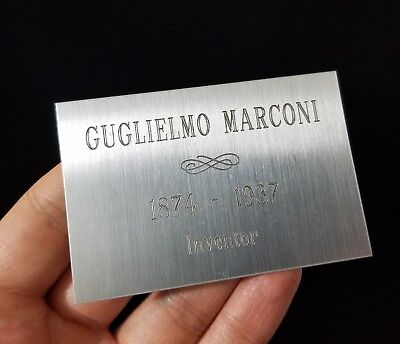 Guglielmo Marconi Name Plate Plaque Engraved For Autograph Signed Photo Display