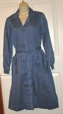 Vtg NWT Carolina Maid Shirtwaist 50's Style Dress size 12 1/2 blue stripe belt