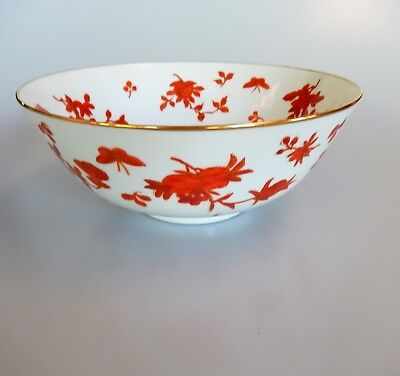 Japanese Red White Porcelain-Ware Bowl Hand Painted Hong Kong Gump's Dept Store