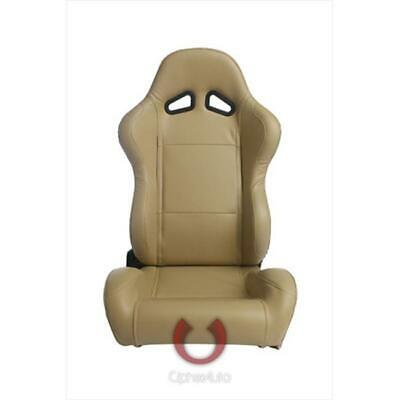 Cipher CPA1001 Beige Synthetic Leather Universal Racing Seats Sold as a Pair